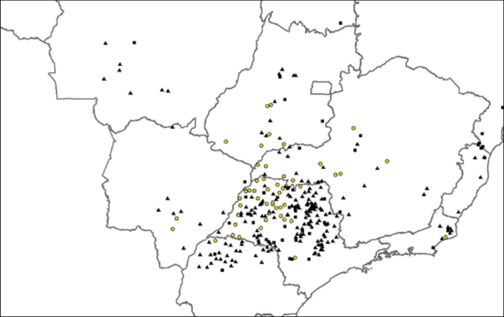 Localização das novas usinas previstas (em amarelo)