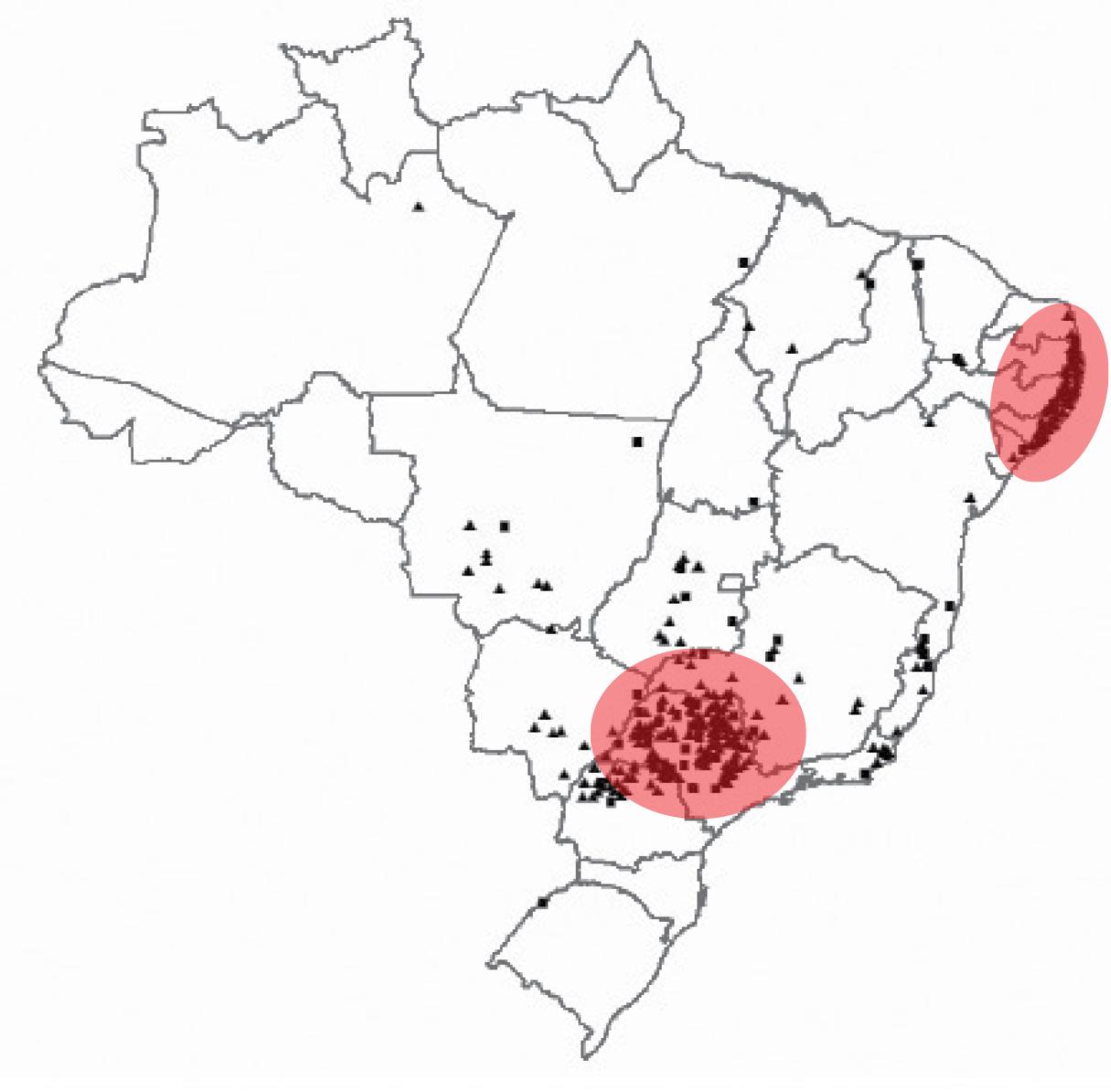 Localização das usinas de açúcar e bioetanol no Brasil.